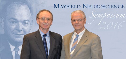Mario Zuccarello, MD, left, Mayfield neurosurgeon and Chairman of the Department of Neurosurgery at UC, and Mayfield Lecturer James T. Rutka, MD, PhD, Professor and Chair, Department of Surgery at the University of Toronto. Photo by Tonya Hines.