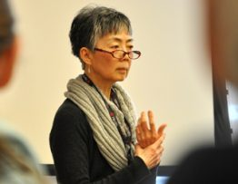 Geraldine Wu, MD, explains the tenets and benefits of mindfulness at the inaugural Resolve to Get Healthy at the Kingsgate Marriott. Photo by Cindy Starr.